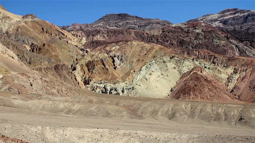 Death Valley, California, USA. Various mineral pigments have colored the volcanic deposits found here. - HD stock footage clip