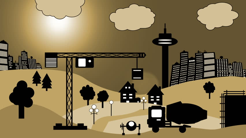 Cartoon of Construction Site - HD stock video clip