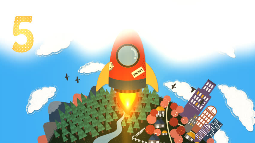 HD animation cartoon rocket space shuttle count down introduction for children. The scene show a rocket flying up from earth and young astronaut floating out for science and astronomy exploration.