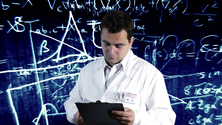 Scientist Checking Documents Scientific Mathematics Background - HD stock video clip