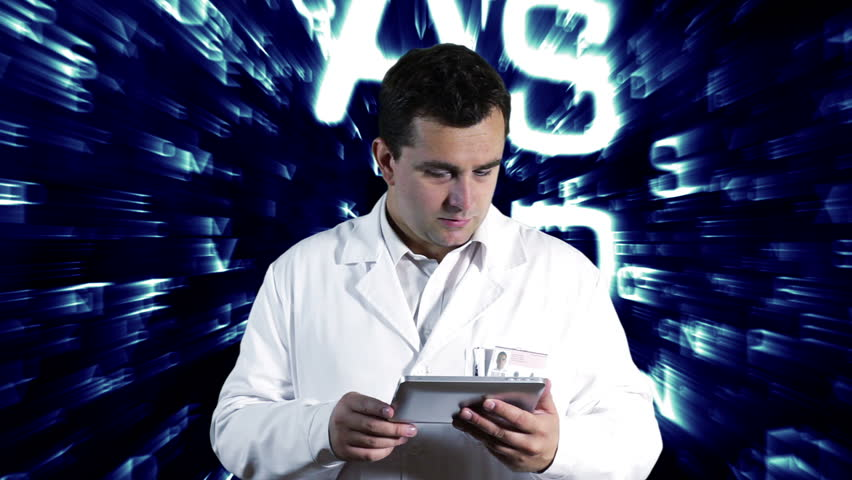 Scientist Using Tablet PC Forming Science Text Background - HD stock footage clip