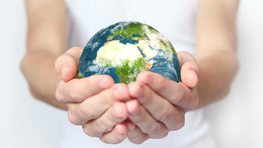 Earth in hands.