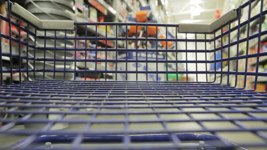 Shopping cart in store - HD stock footage clip