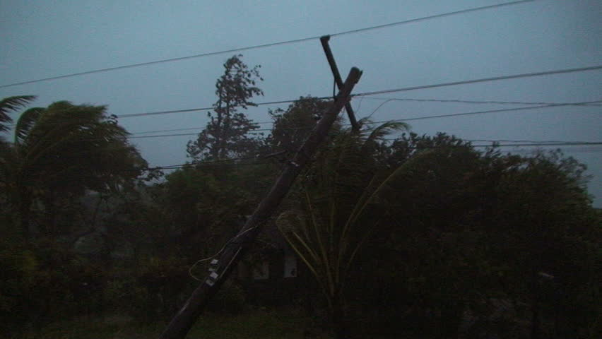 Furious Hurricane Winds Hit At Night.