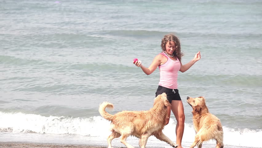 Beautiful happy woman playing with two dogs at beach - HD stock footage clip