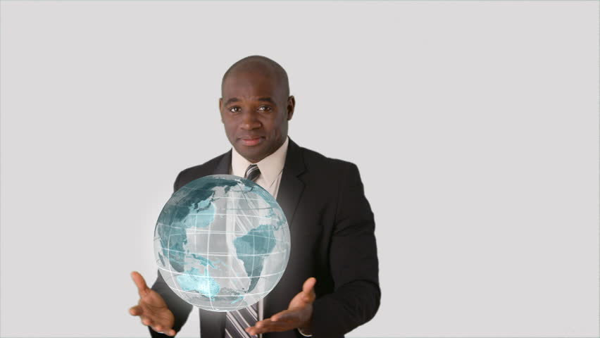 Technology Management Image: African American Businessman Holding Spinning Globe With