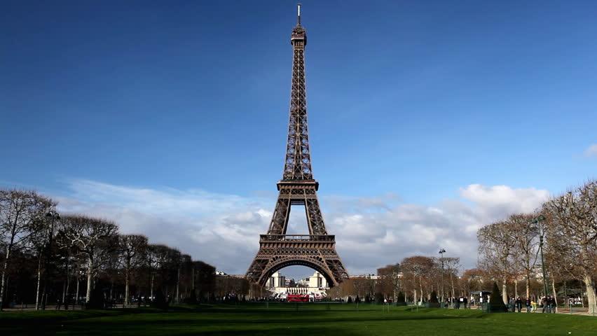 Eiffel Tower in Paris, Champ de Mars, France, Europe - HD stock video clip
