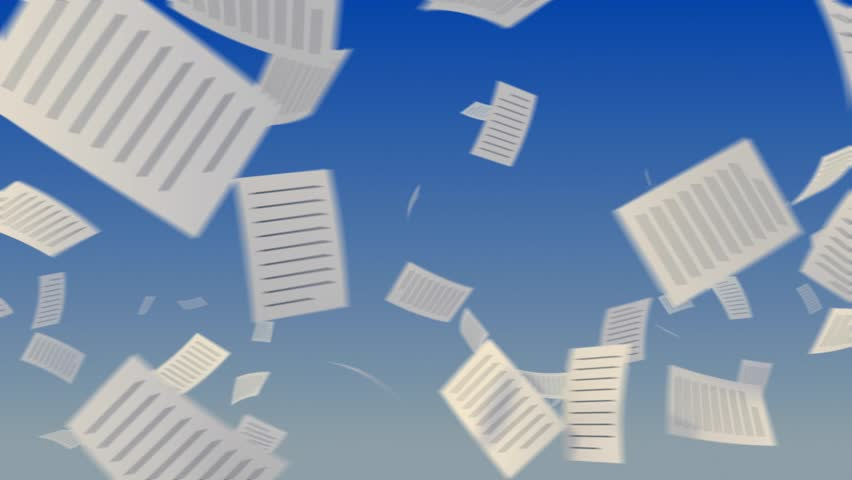 Flying papers on sky background. Progressive looping CG Animation.