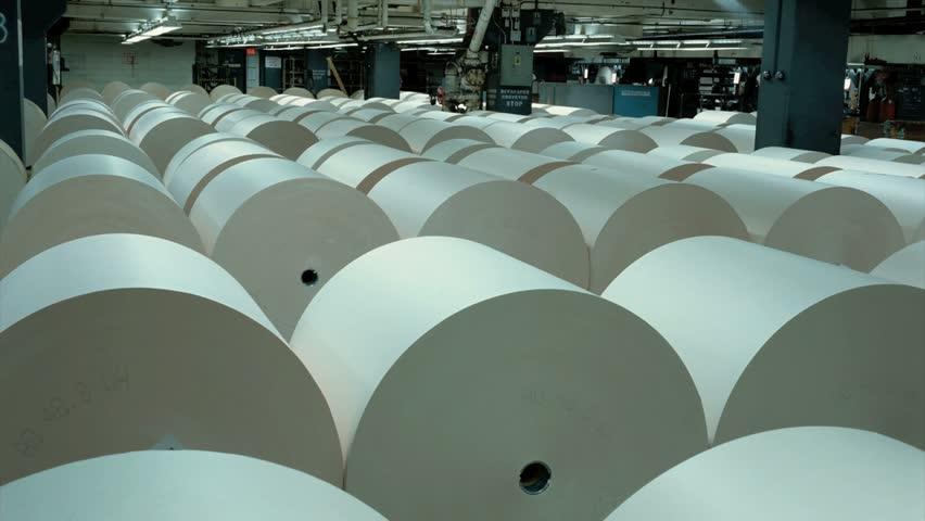 Large Rolls Of Newsprint Stock Footage Video