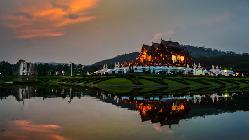 Time Lapse Sunset And Beautiful Horkumluang Castle Of Chiang Mai Thailand (Day