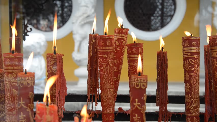 candles and incense in Xuedou Temple