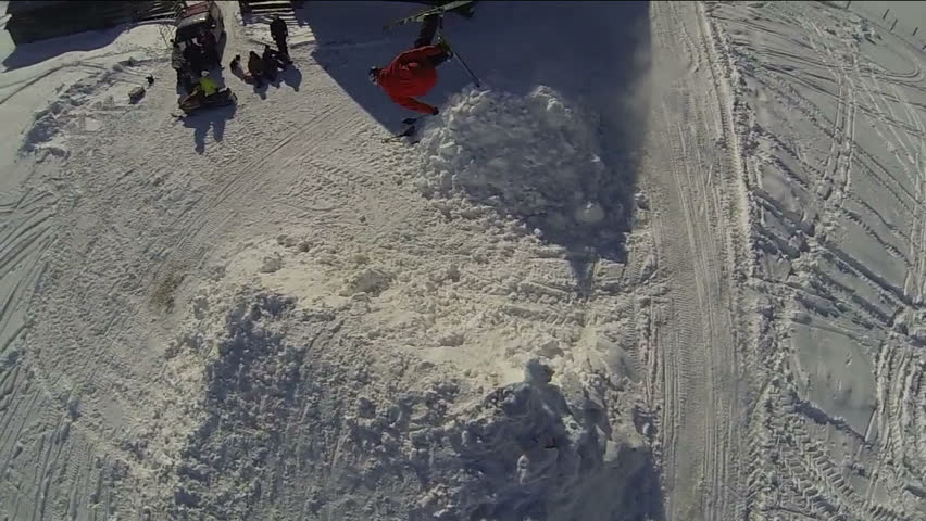 Aerial snowboarding half pipe stock footage video