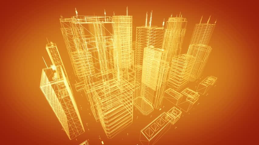 Architectural blueprint of contemporary buildings, orange tint. #3421217