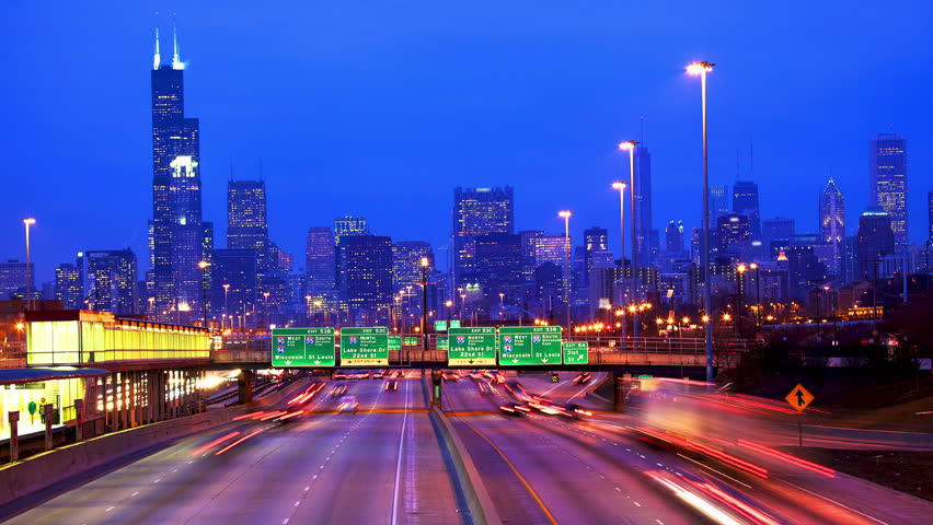 Chicago skyline and traffic at dusk timelapse, IL, USA  | Shutterstock HD Video #3421244