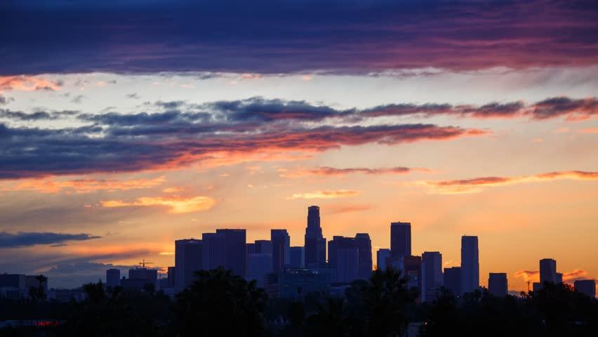 Sunrise. Los Angeles city skyline. Timelapse.   Shutterstock HD Video #3447668