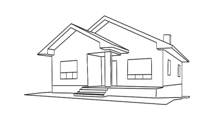 3d Animation Of Sketch Houses For Use In Presentations On How To Draw A 3d  House