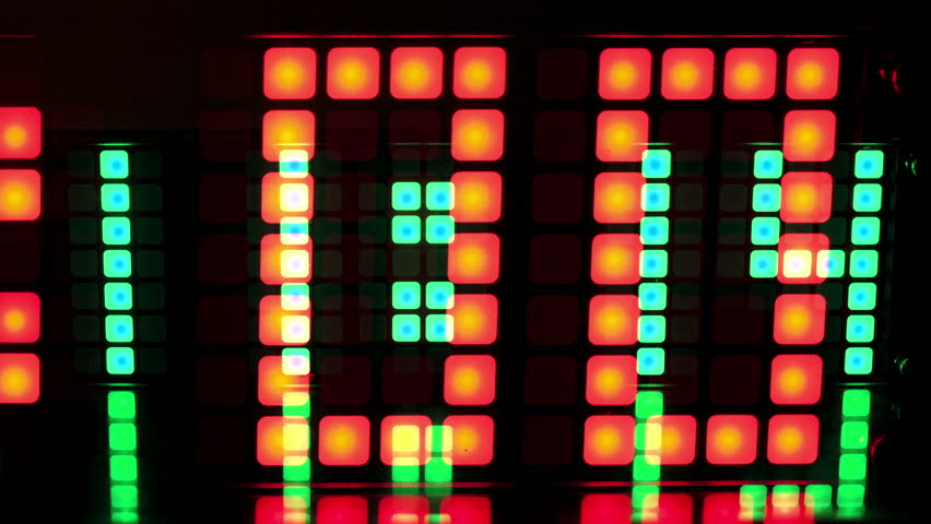 Numerical digital display made from an LED clock counter made into a video wall    Shutterstock HD Video #3460043