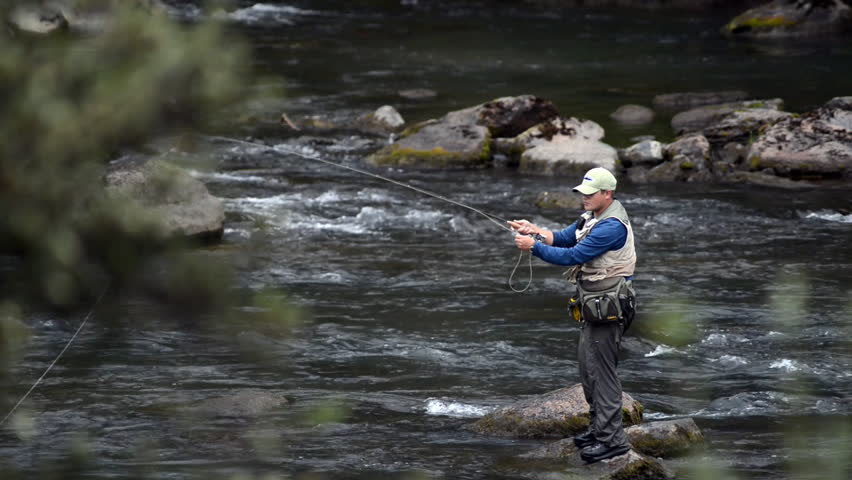 A wide angle shot of a man in waterproof overalls standing in a river and casts his lure with his rod while he spends his day fly fishing. The river current is strong and his catch will be bountiful.