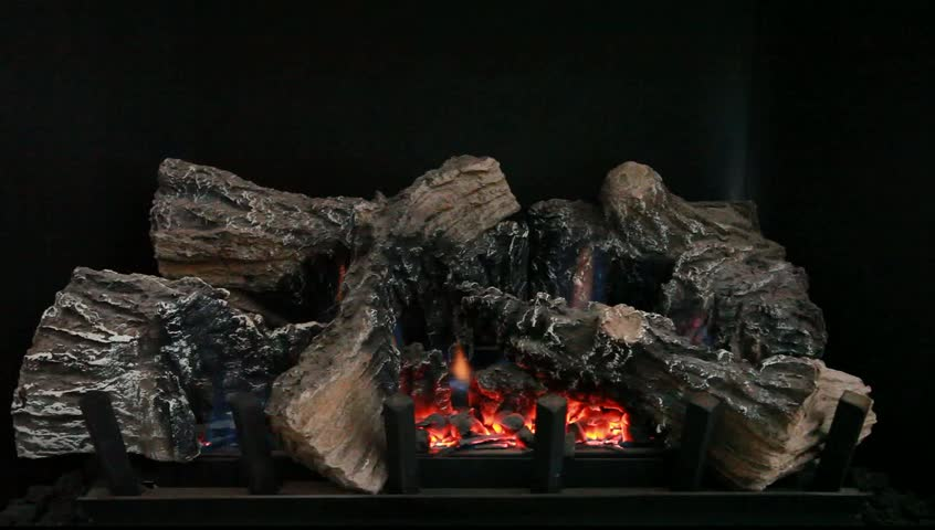 Gas Fireplace With Glowing Embers, A Safe Alternative Way To Heat Stock Footage Video 3480563 ...