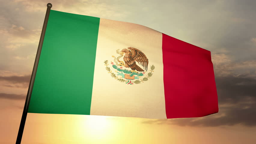 Mexican flag loop waving in cloudscape sunset - 60s | Shutterstock HD Video #3484118