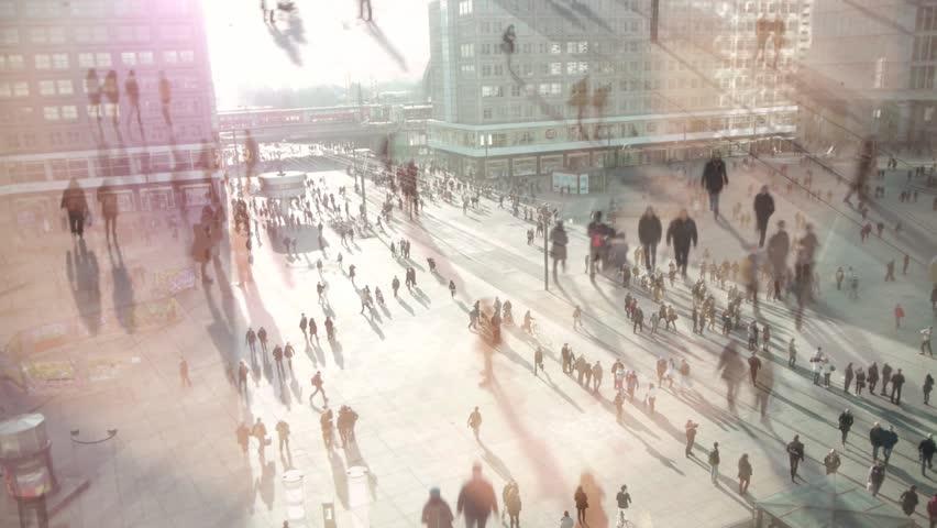 People walking on busy city street HD   Shutterstock HD Video #3497933