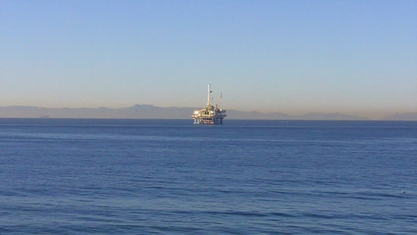 SEAL BEACH, CA - February 23, 2013: An offshore oil drilling and extraction rig