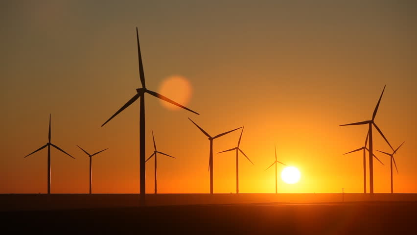 Sunset, Sun Set, Clean and Renewable Energy, Wind Power, Turbine, Windmill