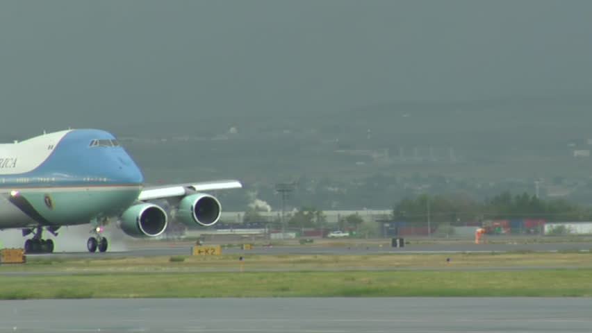 SALT LAKE CITY - CIRCA 2010: Air Force One gathers speed for take-off