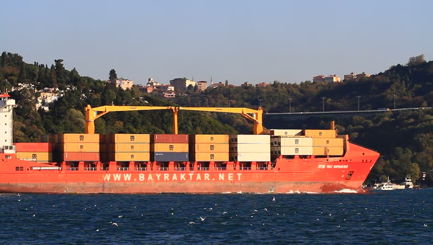 ISTANBUL - OCT 26: Container Ship AYSE NAZ BAYRAKTAR (IMO: 9397420, Turkey) on