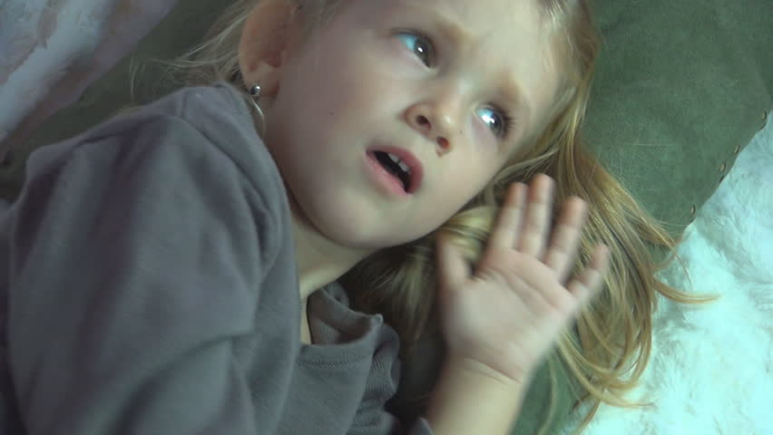Sick Child Sneezing then her Mother Checking Temperature with Thermometer - HD stock footage clip