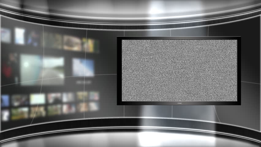 Virtual TV studio set with main monitor.  Blurred background set of a bank of monitors.  The main monitor goes from white noise to green screen for easy use in your project.
