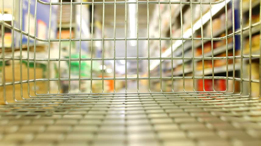 shopping wagon cart moving through store - HD stock footage clip