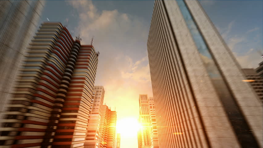 Passing Through a 3D City Facing the Sunset Seamless Loop HD
