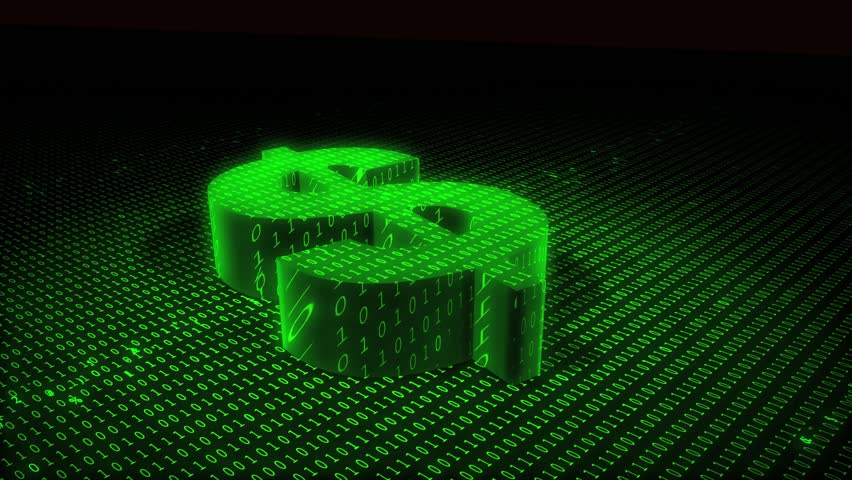 Money Matrix, code travels over a generic US Dollar sign, simulating protection or security