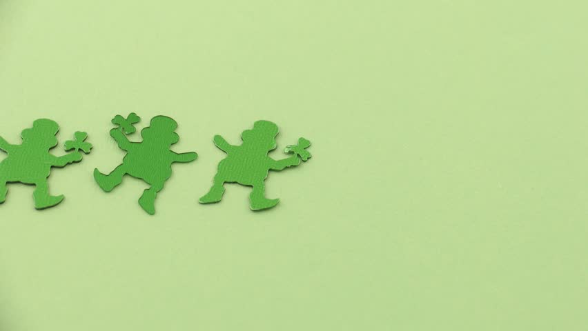 Stop-motion animation of dancing leprechauns.