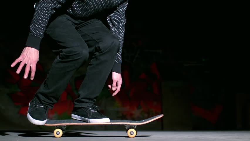 Skater performing 360 flip trick in slow motion - HD stock footage clip