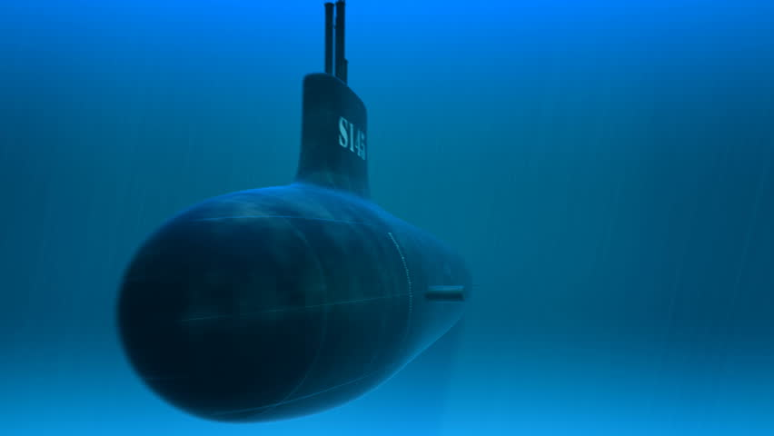 3d animation of swimming submarine. A deep-diving submarine used to explore the ocean is called a submersible. Submersibles are usually smaller than submarines - HD stock footage clip