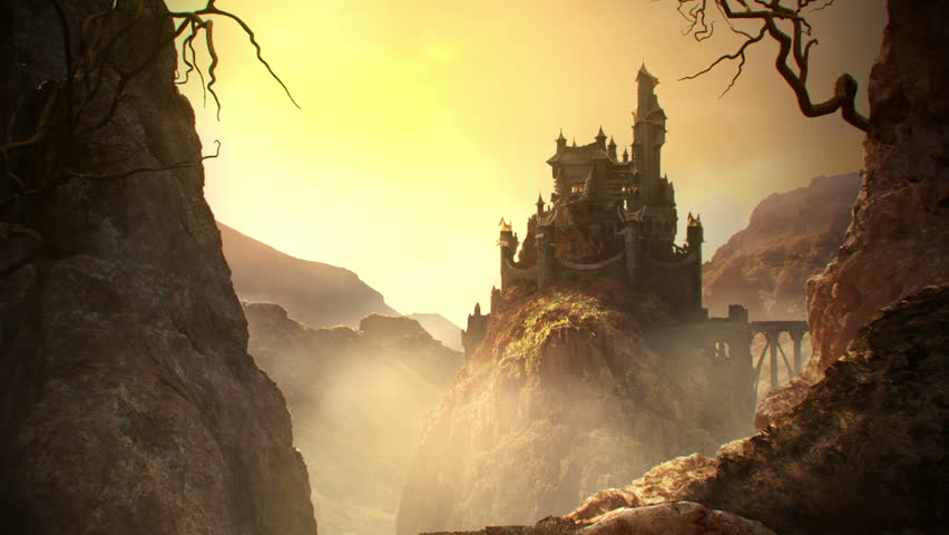 This animation shows a long shot of fantasy castle standing on the hill. - HD stock video clip