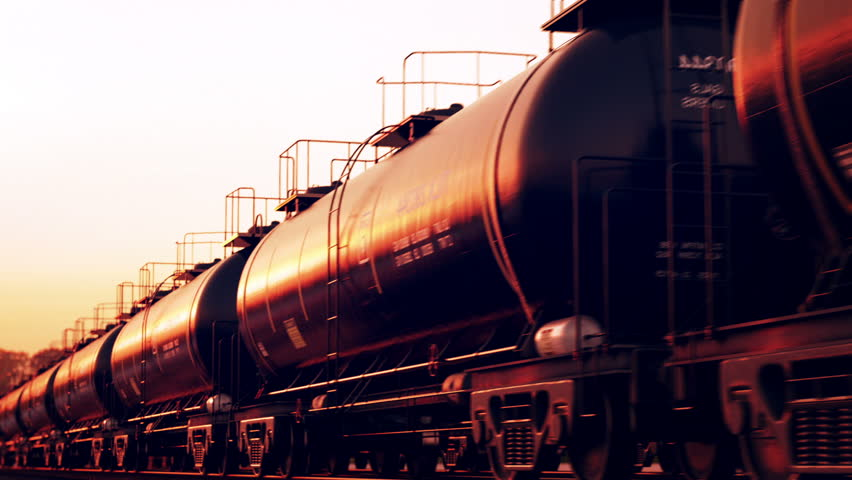 Transportation tank cars with oil during sunset. CG Animation.
