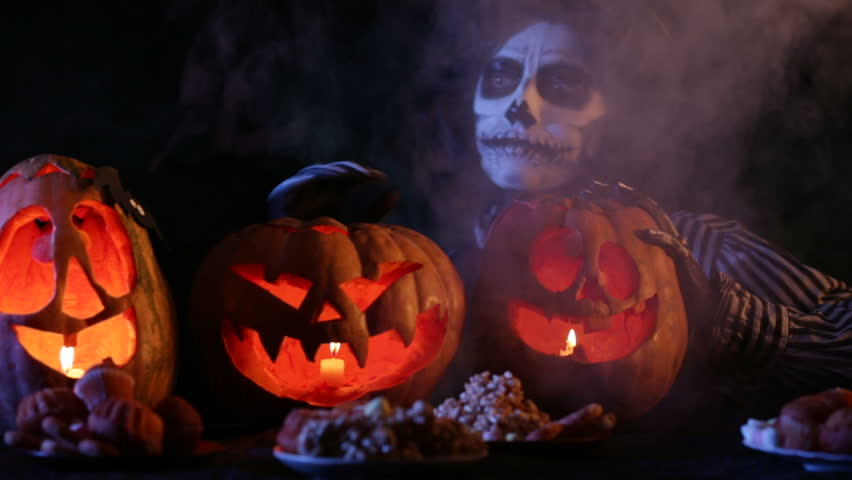 funny ghoul is among the composition of pumpkins hd stock video clip - Pictures That Say Happy Halloween