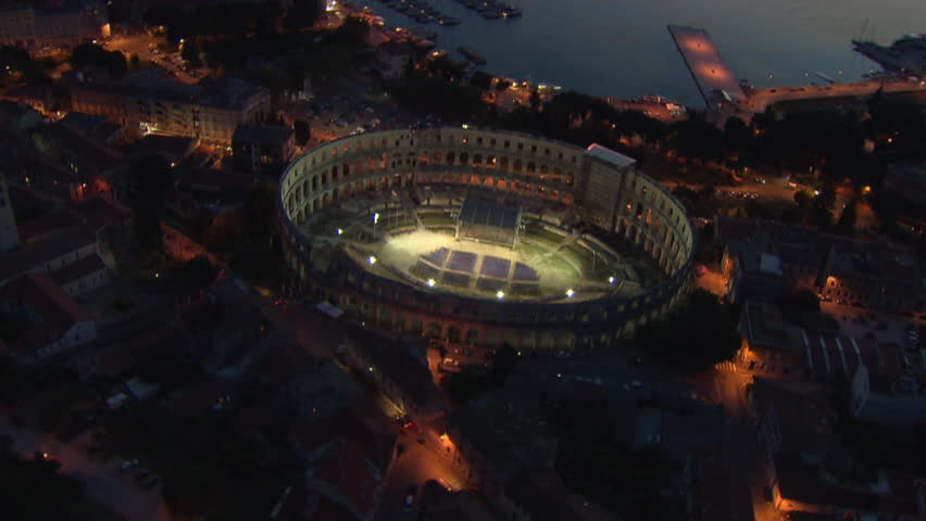Aerial shot of the Arena of Pula at night, Istria, Croatia