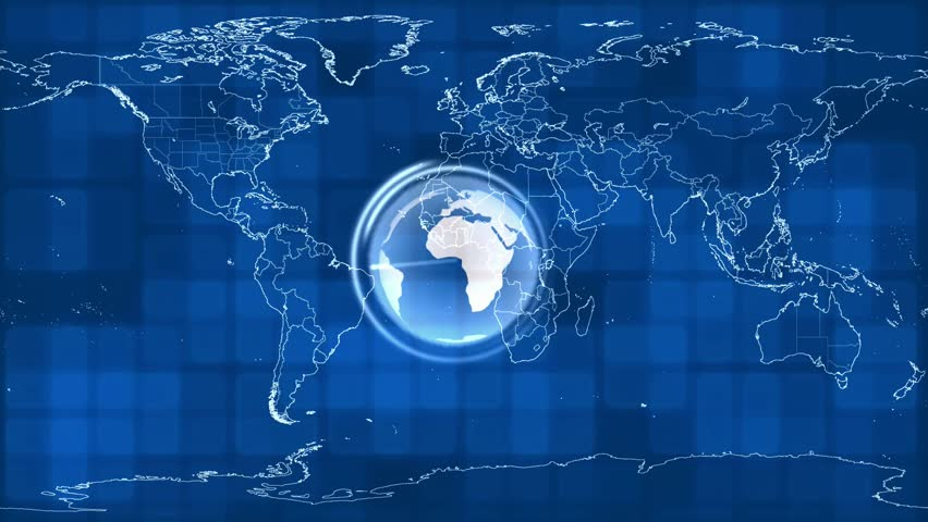 World Map On A Technological Background Stock Footage Video 15148108 ...
