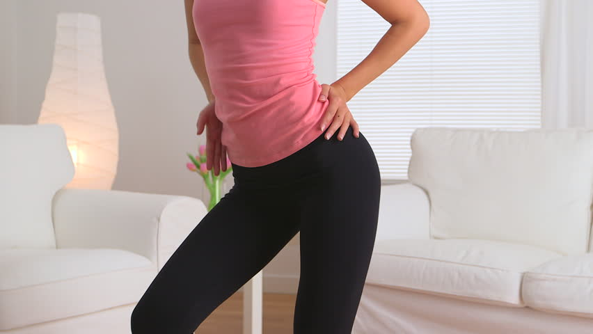Asian Woman Dancing In Yoga Pants Stock Footage Video 3668036 ...
