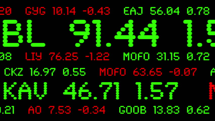 Custom made stock ticker symbols and prices animated across the screen. Symbols