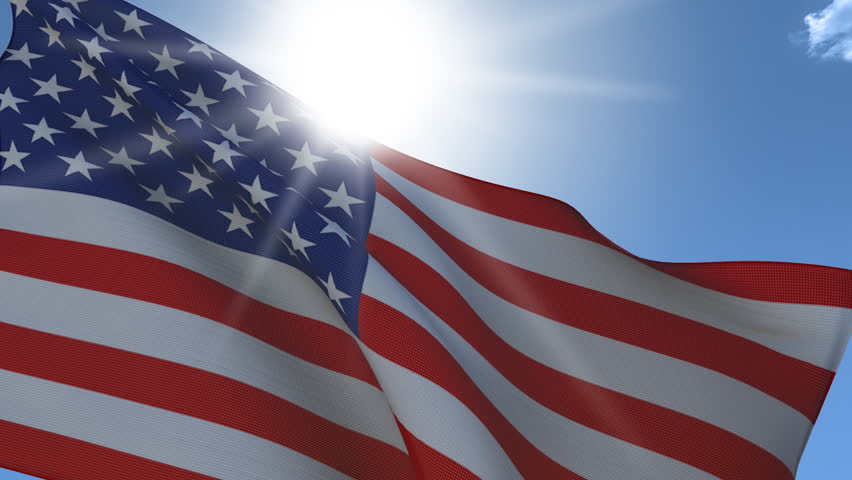 United States Flag Waving Closeup. Seamless Loop, Fabric Detail, Translucency, High Definition