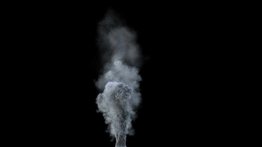 high-detailed cycled chimney smoke isolated on black background (HD, 1080p, high definition seamless loop with alpha)