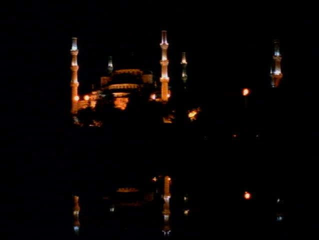 The Blue Mosque of Istanbul at night with six minarets - SD stock video clip