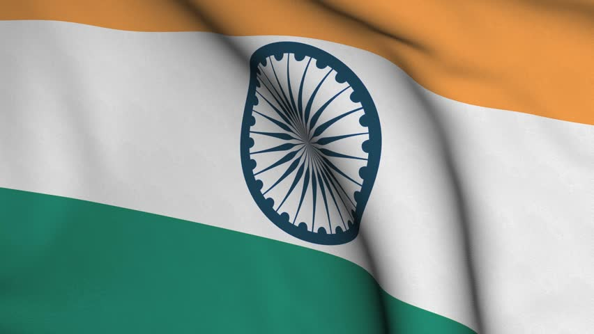 India Flag Colors: Seamless Looping High Definition Video Closeup Of The
