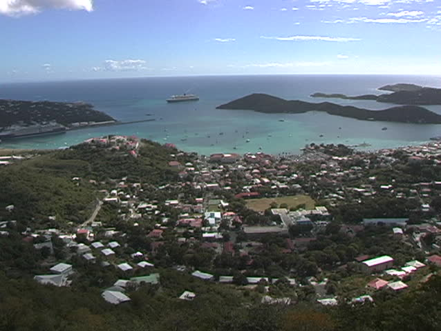 St. Thomas, The Virgin Islands, high view out of city and harbor - SD stock video clip