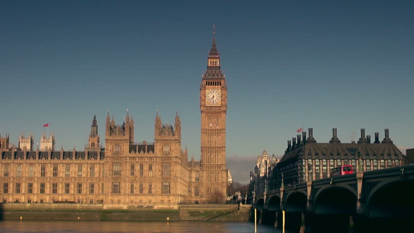 Big Ben clock tower and the Houses of Parliament, view from Westminster bridge, in the morning | Shutterstock HD Video #3715211